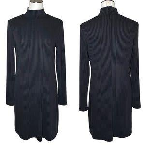 Brass Clothing Black Ribbed Mockneck Long Sleeve Swing Dress
